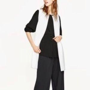 Zara White Long Waistcoat Vest Silver Clasp XS
